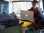 Writing the new website in the van in NZ